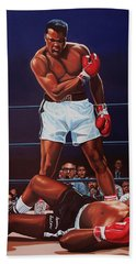 Muhammad Ali Versus Sonny Liston Hand Towel by Paul Meijering