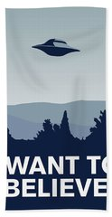 My I Want To Believe Minimal Poster-xfiles Hand Towel by Chungkong Art