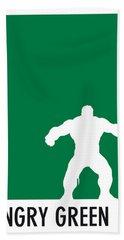 My Superhero 01 Angry Green Minimal Poster Hand Towel by Chungkong Art