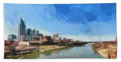 Nashville Skyline Panorama Hand Towel by Dan Sproul