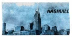 Nashville Tennessee In Blue Hand Towel by Dan Sproul