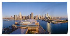 Navy Pier, Chicago, Morning, Illinois Hand Towel by Panoramic Images