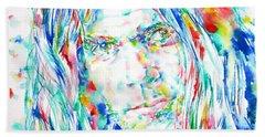 Neil Young - Watercolor Portrait Hand Towel by Fabrizio Cassetta