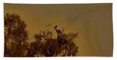 Nesting Jabiru  Hand Towel by Douglas Barnard