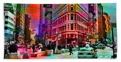 New York Skyline And Taxi Hand Towel by Marvin Blaine
