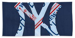 New York Yankees Baseball Team Vintage Logo Recycled Ny License Plate Art Hand Towel by Design Turnpike