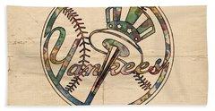 New York Yankees Poster Vintage Hand Towel by Florian Rodarte