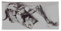 North American Minotaur Pencil Sketch Hand Towel by Derrick Higgins