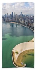 North Avenue Beach Chicago Aerial Hand Towel by Adam Romanowicz
