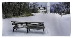 North Point Lighthouse And Bench Hand Towel by Scott Norris