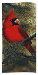 Northern Cardinal Hand Towel by Rick Bainbridge