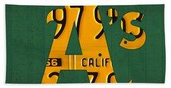 Oakland Athletics Vintage Baseball Logo License Plate Art Hand Towel by Design Turnpike
