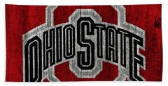Ohio State University On Worn Wood Hand Towel by Dan Sproul