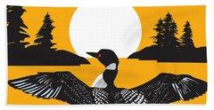 Orange Loon Hand Towel by Derrick Higgins
