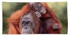 Orangutans Painting Hand Towel by Rachel Stribbling