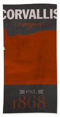 Oregon State University Beavers Corvallis College Town State Map Poster Series No 087 Hand Towel by Design Turnpike