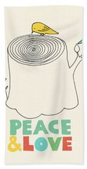 Peace And Love Hand Towel by Eric Fan