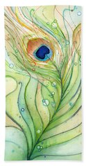 Peacock Feather Watercolor Hand Towel by Olga Shvartsur