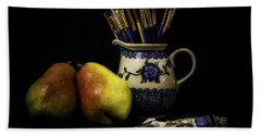 Pears And Paints Still Life Hand Towel by Jon Woodhams