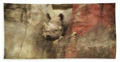 Peek A Boo Rhino Hand Towel by Thomas Woolworth