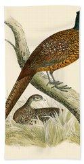 Pheasant Hand Towel by Beverley R Morris