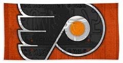 Philadelphia Flyers Hockey Team Retro Logo Vintage Recycled Pennsylvania License Plate Art Hand Towel by Design Turnpike