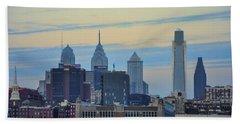 Philadelphia Skyline From Camden Hand Towel by Bill Cannon