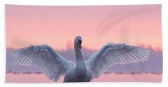 Pink Swan Hand Towel by Roeselien Raimond