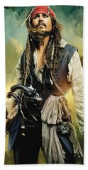 Pirates Of The Caribbean Johnny Depp Artwork 1 Hand Towel by Sheraz A