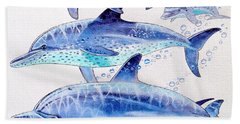 Porpoise Play Hand Towel by Carey Chen