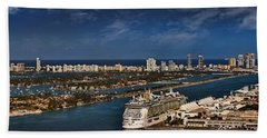 Port Of Miami Panoramic Hand Towel by Susan Candelario