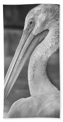 Portrait Of A Pelican Hand Towel by Jon Woodhams