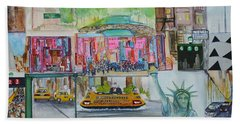 Postcards From New York City Hand Towel by Jack Diamond
