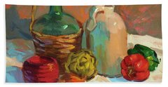 Pottery And Vegetables Hand Towel by Diane McClary