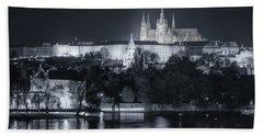 Prague Castle At Night Hand Towel by Joan Carroll