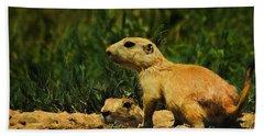 Prairie Dogs On Patrol Hand Towel by Priscilla Burgers