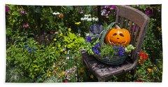 Pumpkin In Basket On Chair Hand Towel by Garry Gay