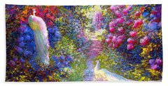 White Peacocks, Pure Bliss Hand Towel by Jane Small
