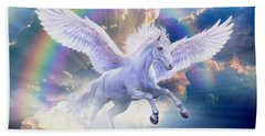 Rainbow Pegasus Hand Towel by Jan Patrik Krasny
