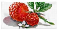 Raspberries  Hand Towel by Irina Sztukowski