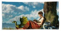 Reading About Dragons Hand Towel by Daniel Eskridge