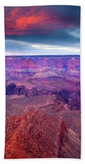 Red Rock Dusk Hand Towel by Mike  Dawson