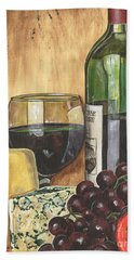 Red Wine And Cheese Hand Towel by Debbie DeWitt