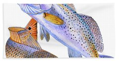 Redfish Trout Hand Towel by Carey Chen