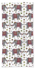 Repeat Print - Indian Elephant Hand Towel by Susan Claire