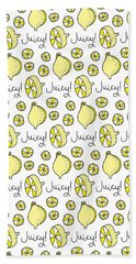 Repeat Prtin - Juicy Lemon Hand Towel by Susan Claire