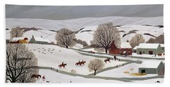 Riding In The Snow Hand Towel by Vincent Haddelsey