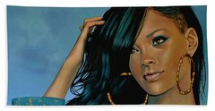 Rihanna Painting Hand Towel by Paul Meijering