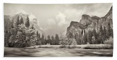 River Flowing Through A Forest, Merced Hand Towel by Panoramic Images