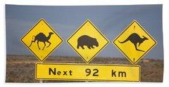 Road Sign Nullarbor Plain Australia Hand Towel by Mark Newman